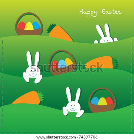 Easter card with funny bunnies, eggs in the baskets and carrot.