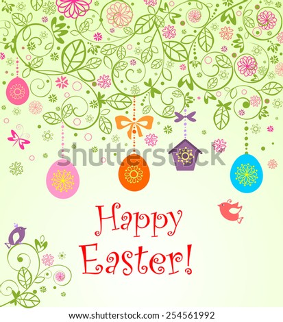 Easter card with hanging eggs, little birds and birdhouse - stock vector