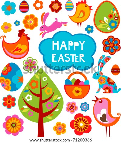 Easter card with many graphical elements - stock vector