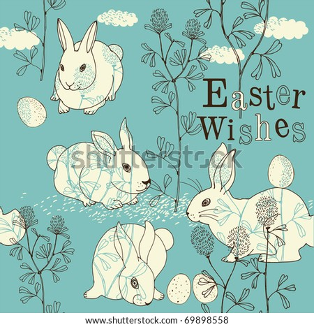 Easter card with rabbits - stock vector