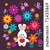 easter card with spring flowers and easter bunny - stock vector