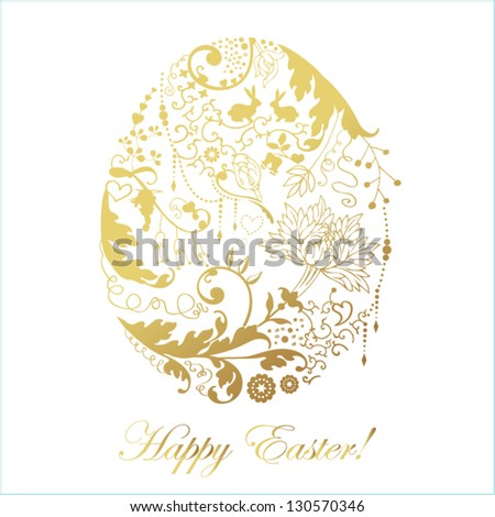 Easter card with stylized floral egg - stock vector