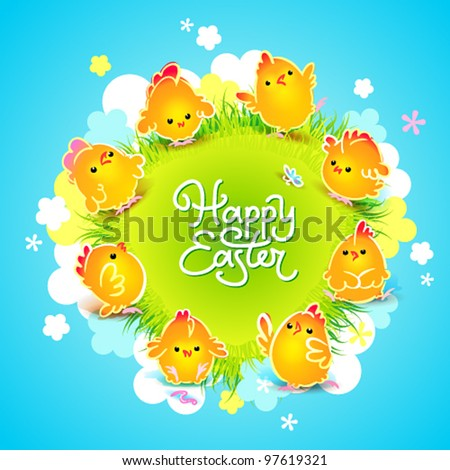 Easter card with the cute chickens around the meadow with flowers. Vector illustration. - stock vector