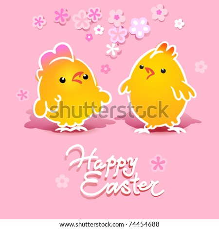 Easter card with two chickens (rooster and hen) on a pink background. Vector illustration. - stock vector