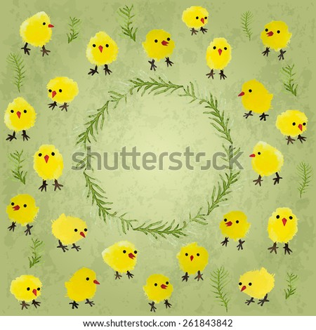 Easter card with watercolor chickens and grass. Happy Easter day vector frame. Perfect for greetings, invitations, cards, banners, web design. - stock vector