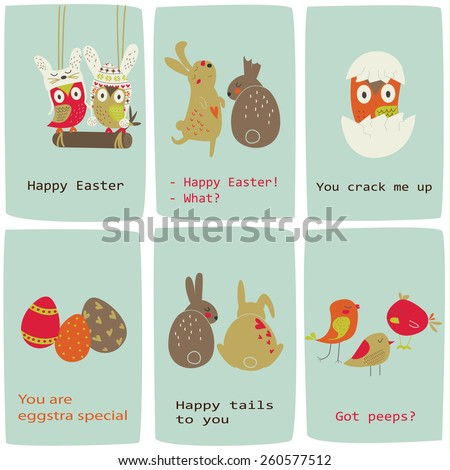 Easter cards with cute owls, bunnies, chickens and eggs in cartoon style. - stock vector