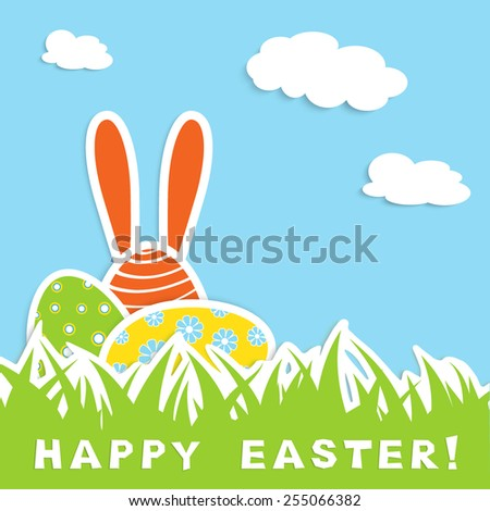 easter celebration card with tree colorful eggs in green grass, one egg with long ears, blue sky with white cloud, vector illustration - stock vector