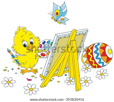 Easter Chick painter - stock vector