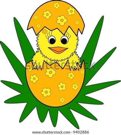easter chicken, vector illustration - stock vector