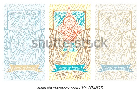 Easter christian greeting card resurrection christ stock vector easter christian greeting card with resurrection of christ angels and lettering christ is risen m4hsunfo