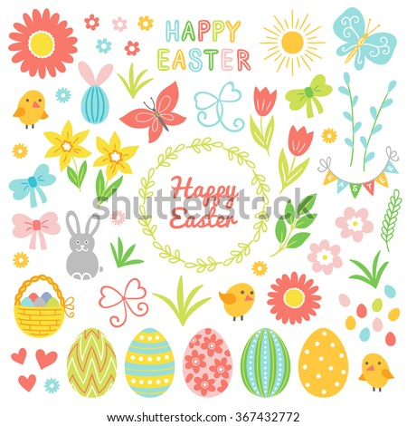 Easter collection. Flower, chicken, chamomile, bunny, bow, hearts, bucket, butterfly, sun, grass, garland, wreath, leaves, decorated egg, tulip, pussy-willow, letters and branch on white background - stock vector