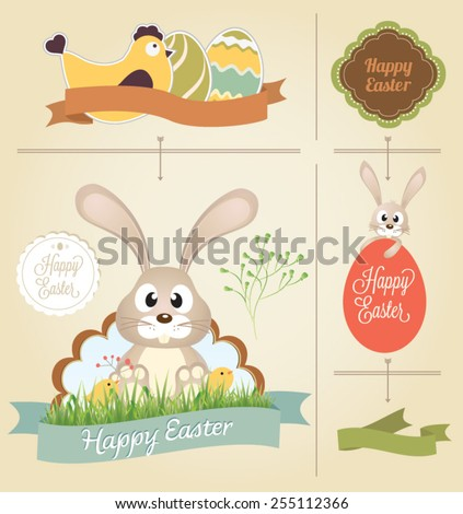 Easter collection of Labels and vector element with retro vintage styled design - stock vector