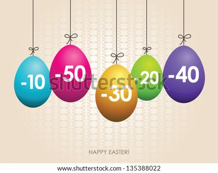 Easter colorful eggs, sale tags - stock vector