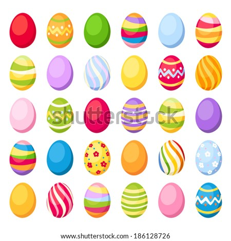 Easter colorful eggs. Vector illustration. - stock vector