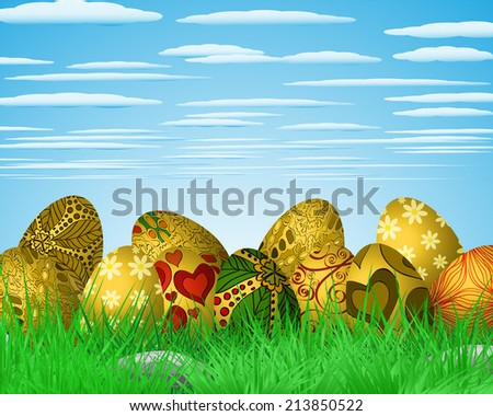 Easter colorful illustration with eggs lying on green grass - stock vector