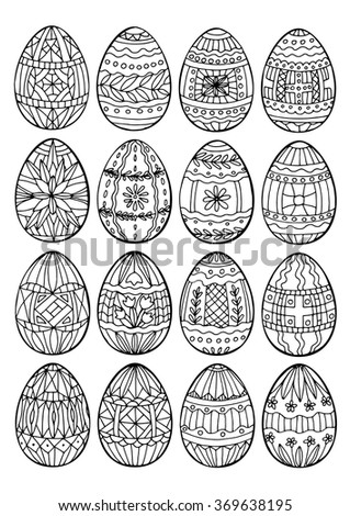 Easter Coloring Page For Adult Eggs Hand Drawn Set A4