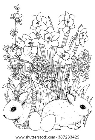 Easter Coloringpage Bunny Spring Flowers Set