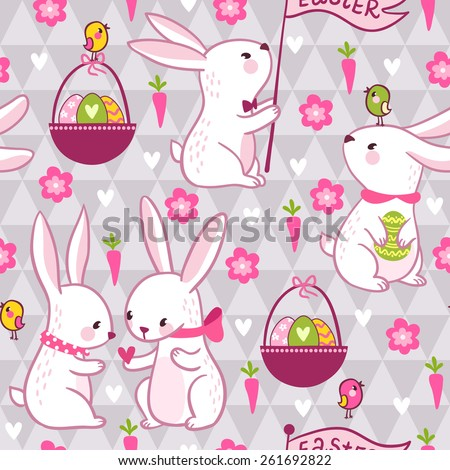 Easter concept seamless pattern in vector. Cartoon background with cute rabbits, eggs, carrots and flowers. - stock vector