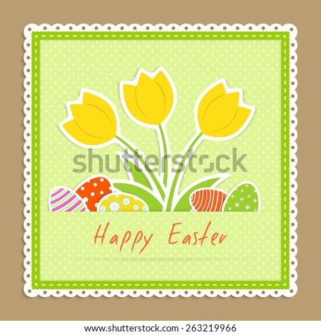 easter congratulation card with yellow tulips and several eggs on green napkin on beige background, textile applique, vector illustration - stock vector