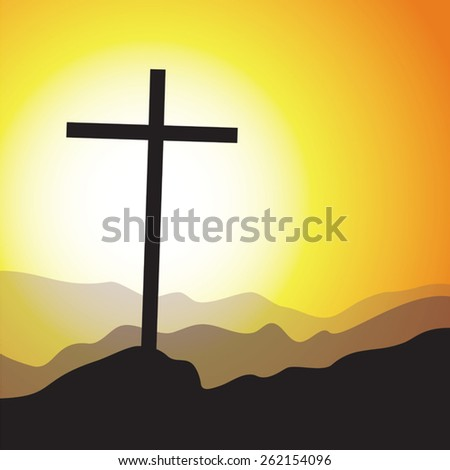 Easter day cross. Cross with sunrise background. - stock vector