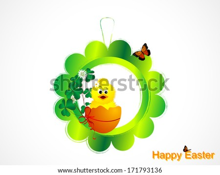 Easter decoration with cute chick and clover - stock vector