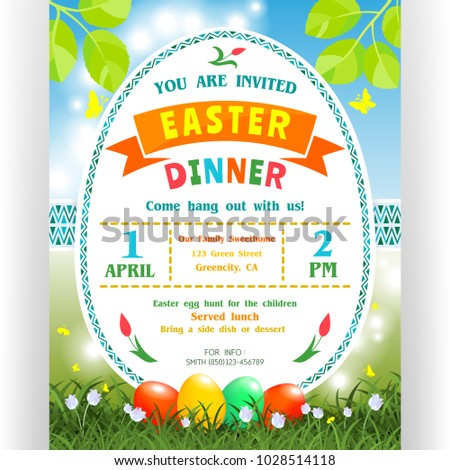 Easter dinner announcing poster template text stock vector 2018 easter dinner announcing poster template text customized for invitation with date time location stopboris Gallery