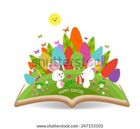 easter egg and bunny spring with grass garden in the book - stock vector
