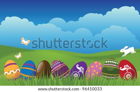 Easter Egg and butterfly background EPS 8 vector, grouped for easy editing. No open shapes or paths. - stock vector