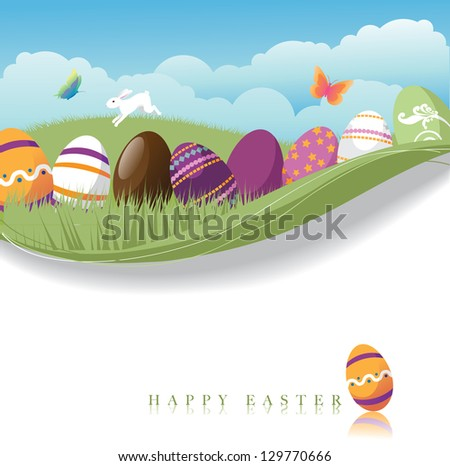 Easter Egg Background. EPS 8 vector, grouped for easy editing. No open shapes or paths. - stock vector