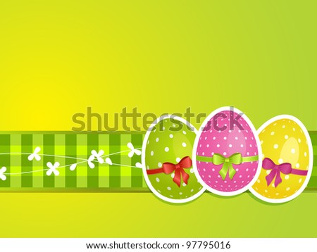 Easter egg background with ribbons and bows on a decorative gingham border - stock vector