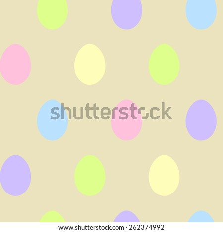Easter Egg cheerful seamless pattern vector background in pastel colors. Use for textiles, gift package decoration, web page background, surface textures, food labeling, wrapping paper. Editable. - stock vector