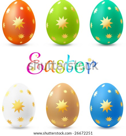 Easter egg collection plated with gold ornate. Vector, contains gradient mesh elements. - stock vector