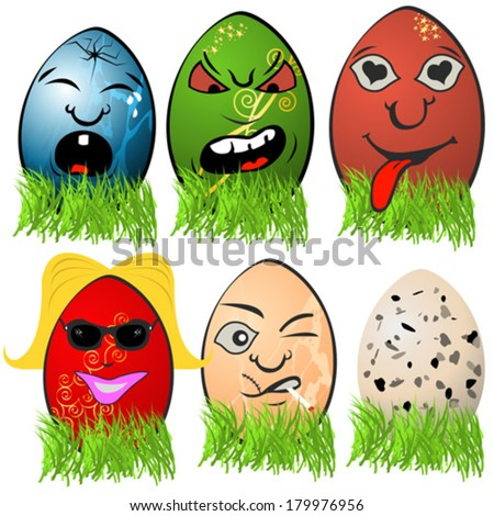 Easter egg emotions 3 - stock vector