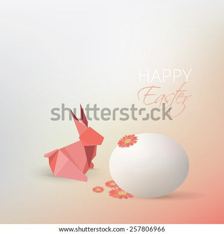 Easter egg, gerbera flowers and pink origami rabbit decoration isolated on soft subtle blurry background  - stock vector