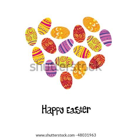 Easter egg. Heart shaped background. - stock vector