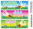 Easter Egg Hunt invitation, card or poster with bunnies, eggs, fresh green grass, flowers - stock vector