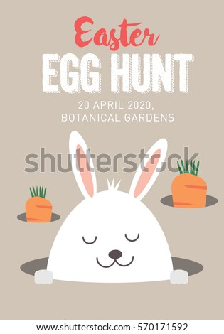 Easter Bunny Egg Hunt Template Vectorillustration Stock Vector