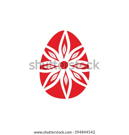 Easter egg icon red and white vector illustration - stock vector