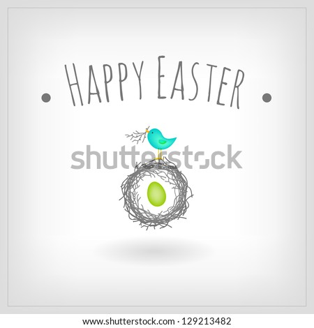 Easter egg in bird nest, greeting card - stock vector