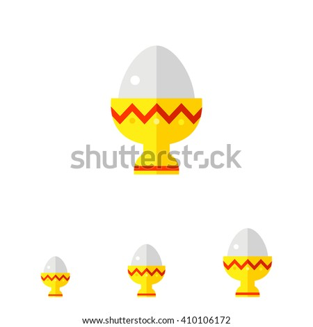 Easter egg in eggcup flat icon - stock vector
