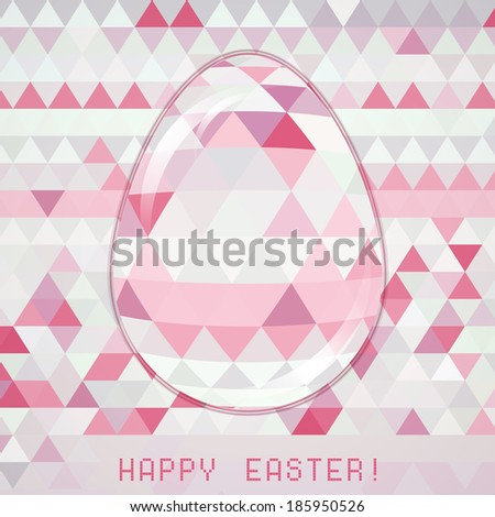 Easter egg pink crystall triangle mosaic glass spring concept. Use as greeting card - stock vector