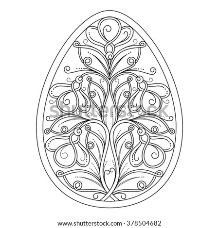 Easter egg template in paper cutting style