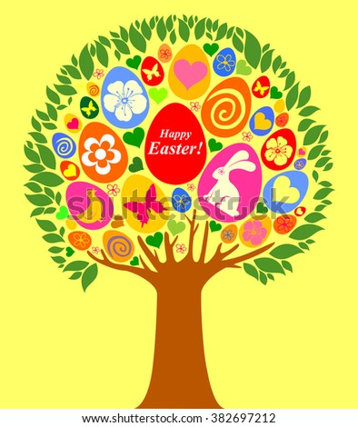 Easter egg tree isolated on yellow background. Greeting card. Celebration background with egg tree, flowers, butterfly and place for your text. Vector Illustration