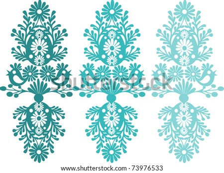 easter egg with floral elements - stock vector