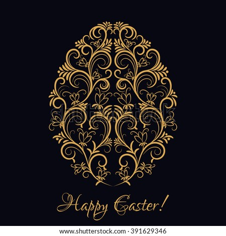 Easter egg with gold floral ornament over black. Happy Easter. Floral element, icon for your invitation holiday card - stock vector