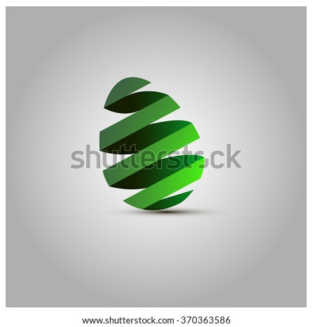 Easter egg with green ribbon - stock vector