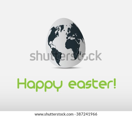 Easter egg with world mapp - stock vector