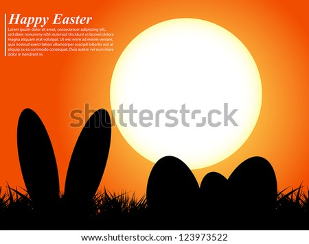 Easter eggs and ears rabbit in silhouette in front of a sunset - stock vector