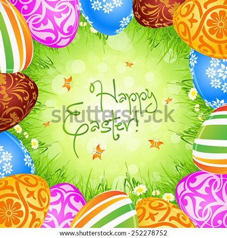 Easter Eggs and Grass with Flowers and Butterflies - stock vector