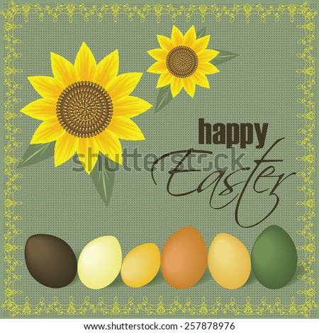 Easter eggs and sunflower card. - stock vector